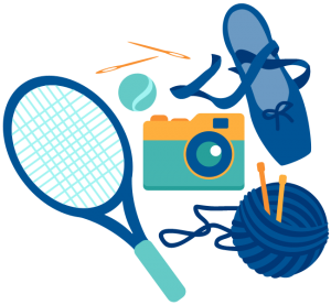 graphic of tennis raquet, yarn camera and ballet slipper