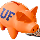 Photo of orange and blue piggy bank